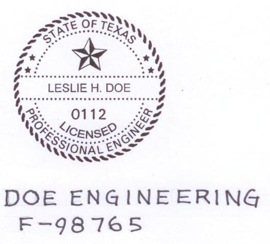 Firm seal example showing standard seal plus name of firm hand-written underneath.